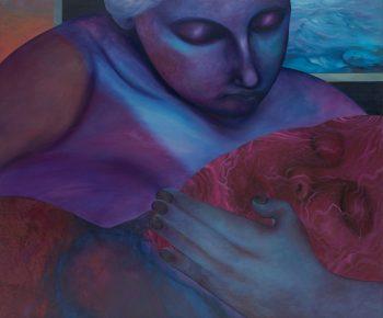 Paulina Stasik, Opiekunka, 2021, olej i akryl na płótnie, 100 × 120 cm