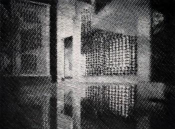 B. Materka, Bez tytułu (Vasarely Museum), 2013, olej na płótnie, 150 x 200 cm