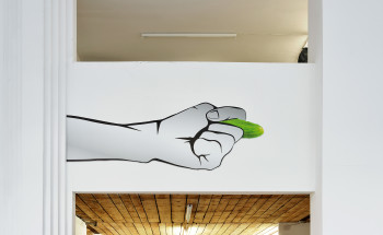 Jak ogórek jest życie, raz w garści, raz w odbycie (Life is like a cucumber: one day in your hand, one day in your ass), 2016, UV print on PCV, 195 x 70 cm